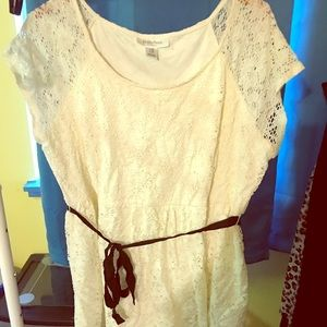 White lace maternity tunic with black ribbon tie